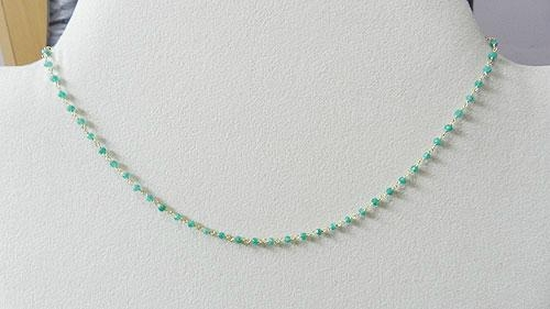 Apatite Hydro Roundel Facet Handlinked Silver 18 inch Chain 1