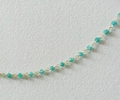 Apatite Hydro Roundel Facet Handlinked Silver 18 inch Chain 3