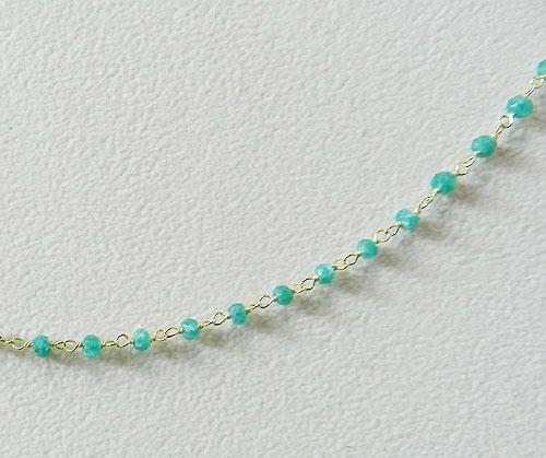 Apatite Hydro Roundel Facet Handlinked Silver 18 inch Chain 4