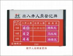 煤礦可擦拭記錄牌板