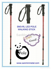 Carbon nordic walking pole with LED torch
