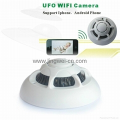 spy wifi ip hidden camera smoke detector style ip wifi camera support Iphone