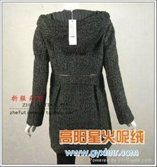 女式粗仿麥穗呢羊絨時裝面料