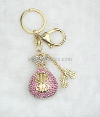 Fashion crystal perfume bottle  bag charm zinc alloy  bag charms