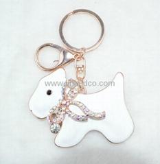 小狗水晶钥匙扣锌合金包扣
