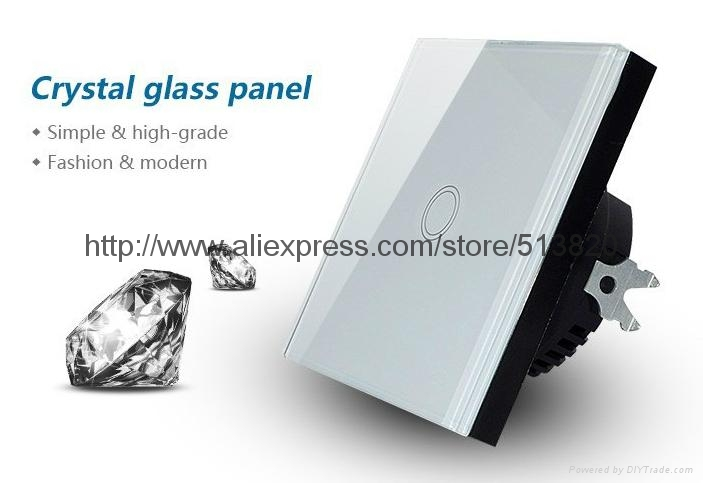 EU Standard 1 Gang Touch Switches Overload Protect Glass Panel 3