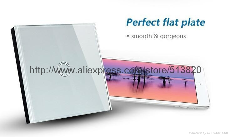EU Standard 1 Gang Touch Switches Overload Protect Glass Panel 4