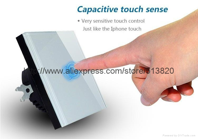 EU Standard 1 Gang Touch Switches Overload Protect Glass Panel 5