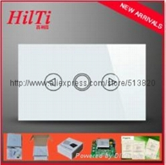 US Standard Fashion Design Crystal Glass Touch Panel Light Switches Dimmer