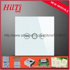 Crystal tempered glass panel electromotion touch screen curtain switch