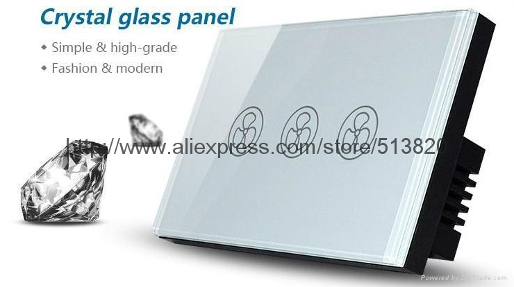 US Standard Touch Fan Speed Wall Switch Crystal tempered glass panel AC110V-240V 2
