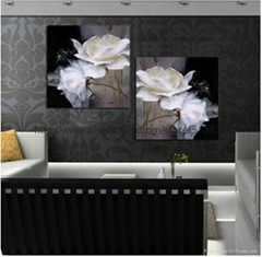 Modern Wall Painting white Flowers Home Decorative Art Picture Paint on Canvas