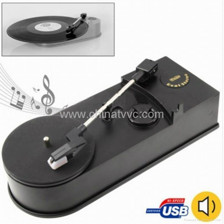 USB 迷你黑膠唱片機老式留聲機轉MP3    1