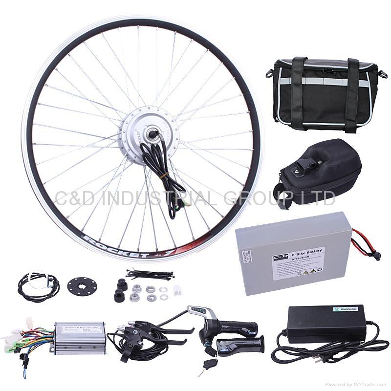 36V 250W electric bike conversion kit with 10AH handlebar bag battery     1