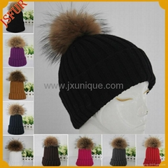 Knit hat with genuine raccoon fur pom pom