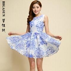 碧佳純2014韓版女裝修身歐根紗刺繡蕾絲連衣裙夏季新款