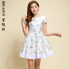 碧佳純2014新款女夏裝短袖連衣裙