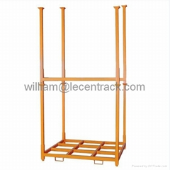Stack racks with removable posts for bags, cartons, tires