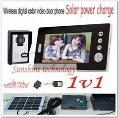 New Solar power charger Wireless 7inch photo-memory video door phone intercom