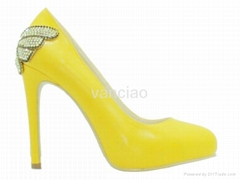 Yellow Patent High Heel Diamond Flowers Platform Pumps