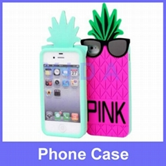 Pink Victoria's Secret 3D Pineapple Silicone Soft Back Cases for iPhone 5S 4S