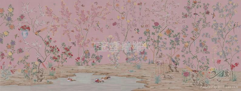 王室真丝手绘墙纸 1