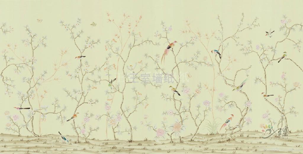 王室真丝手绘墙纸 2