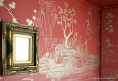 大型手绘丝绸壁纸