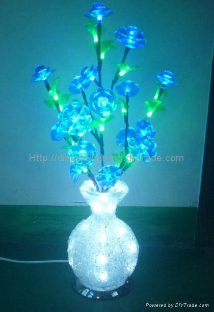 2014 Novelty NEW Round LED Crystal Acrylic Flower Vase Lights DW