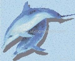 泳池马赛克-海豚拼图