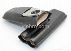 VinBro Cigar Leather Case Tube Holder Humidor Pouch Bag Matches Digital Hygromet