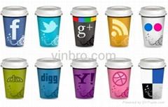 VinBRO Coffee Mug Cups Ceramic Reusable Plastic Stainless Steel Set Starbucks