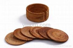 VinBRO Custom Wooden Bamboo Natural Sandstone Silicone Cork Rubber Cup COASTERS