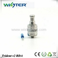 Wisterecig high quality ss and black trident v2 rda atomizer clone