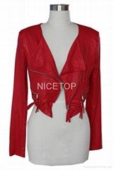 2014 Spring red thin faux Suede Body piercing short biker jacket