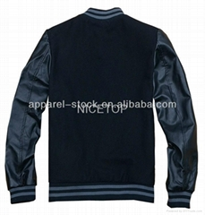 mens wool with PU sleeve baseball windbreaker jacket