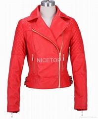 Flame red color fur biker jacket
