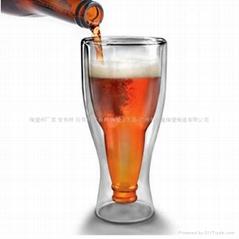 创意双层玻璃杯啤酒杯 透明玻璃冷饮杯 玻璃杯厂