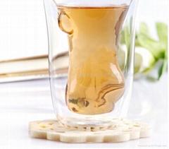 新款双层美女造型耐热杯男人热捧女玻璃杯 威士忌女杯