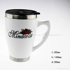 不繡鋼陶瓷杯 保溫杯 高溫高白瓷杯 庫存批發 廠家直銷