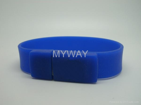 White Silicone bracelet usb stick with custom logo 4