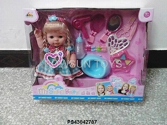 """10 SOUND IC, 14"""" LONG-HAIRED GIRL BABY DOLL"""