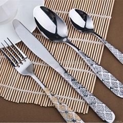 Stainless Steel Flatware Sets 4 pcs Golden-Plated Cutlery Set CT-107