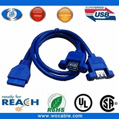 USB 3.0 cable 2 port usb 3.0 Motherboard 20p Y cab