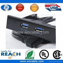 2ports 3.0 usb panel mount 3.5 Floppy Bay Bracket Cable