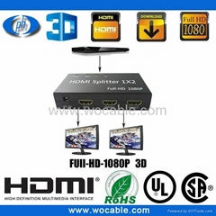 2 Ports 1x2 HDMI Splitter Box & 1080p HDMI Cable