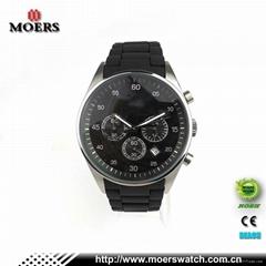 高档六针石英机芯不锈钢手表不锈钢包硅胶带手表厂家专业生产