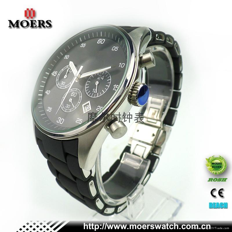 高檔六針石英機芯不鏽鋼手錶不鏽鋼包硅膠帶手錶廠家專業生產 2