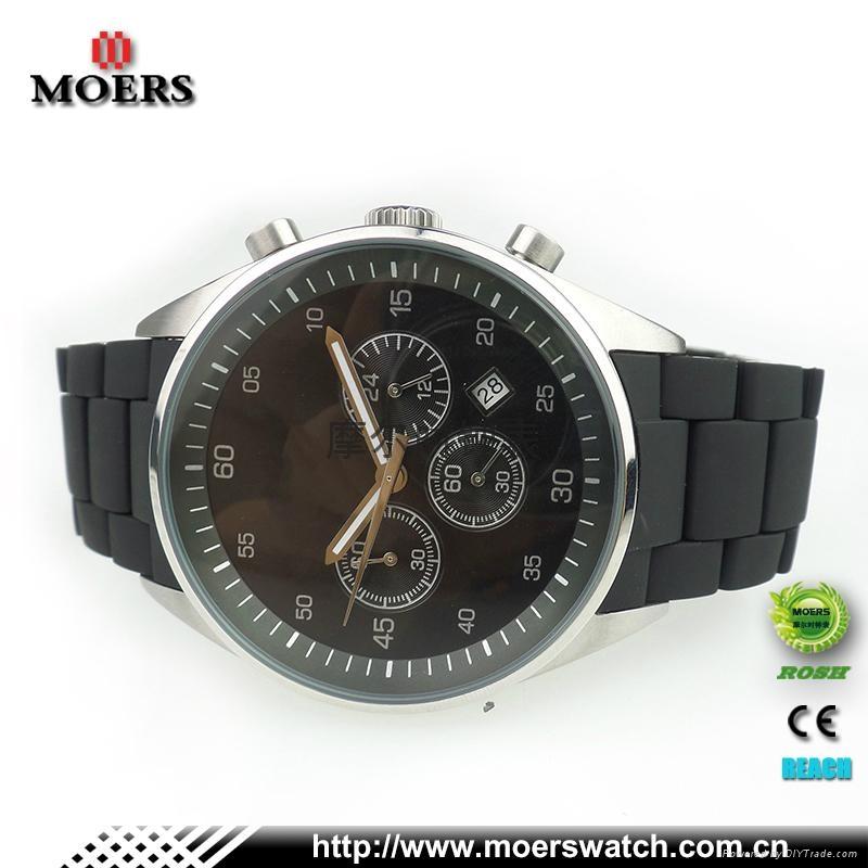 高檔六針石英機芯不鏽鋼手錶不鏽鋼包硅膠帶手錶廠家專業生產 3