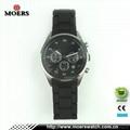 高檔六針石英機芯不鏽鋼手錶不鏽鋼包硅膠帶手錶廠家專業生產 4